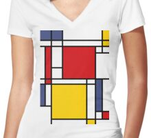 Mondrian Women's Fitted V-Neck T-Shirt