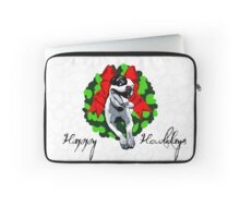 Happy Howlidays and Merry Pitmas - Holiday Christmas Dog - Pit Bull in Wreath Laptop Sleeve