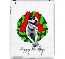 Happy Howlidays and Merry Pitmas - Holiday Christmas Dog - Pit Bull in Wreath iPad Case/Skin