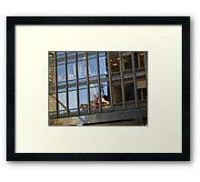 Crane In The Window, Construction In NYC Framed Print