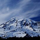 Rainier with wispy clouds by Tori Snow