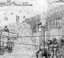 My pencil drawing of Steam Threshing in Yorkshire Sticker