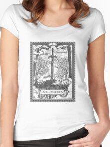 Vintage Legend of Zelda Master Sword Tarot Women's Fitted Scoop T-Shirt