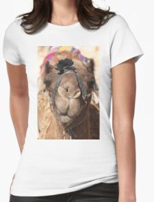 Close-up portrait of a camel, Negev, Israel Womens Fitted T-Shirt