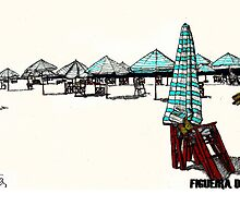 Figueira da Foz - Beach Umbrellas  by Paul  Nelson-Esch