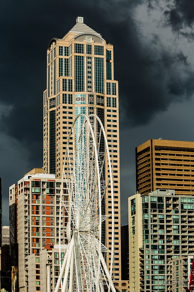 Seattle Ferris Wheel Under Construction with Stormy Skies by Jim Stiles