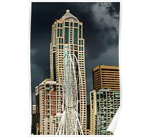 Seattle Ferris Wheel Under Construction with Stormy Skies Poster