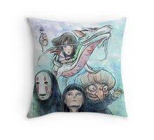 Spirited Away Miyazaki Tribute Watercolor Painting Throw Pillow