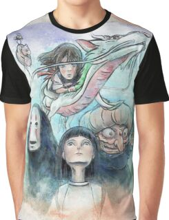 Spirited Away Miyazaki Tribute Watercolor Painting Graphic T-Shirt