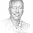 drawing of man in white shirt by Mike Theuer