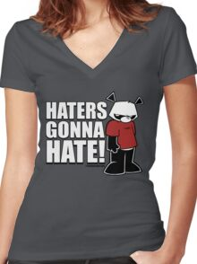Pissed OFF Panda Haters Gonna Hate Women's Fitted V-Neck T-Shirt