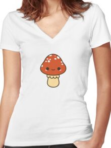 Kawaii red toadstool Women's Fitted V-Neck T-Shirt