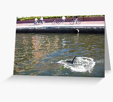 Dolphin Splendor By The Old Swan Brewery Greeting Card