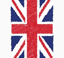 UK Union Jack Scribble Abstract Flag Background Women's Fitted Scoop T-Shirt