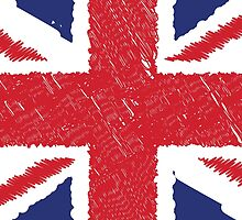 UK Union Jack Scribble Abstract Flag Background by CroDesign