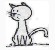 Simple Cartoon Cat Tee by Wilburino