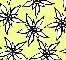 White & Black Hand Drawn Flowers on Yellow by Blkstrawberry