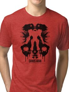 Samus Aran Metroid Geek Ink Blot Test Tri-blend T-Shirt
