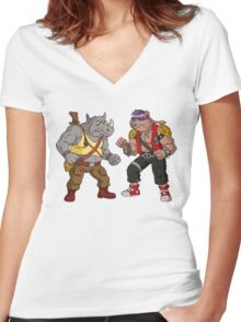 Bebop Rocksteady - Funny big print Women's Fitted V-Neck T-Shirt