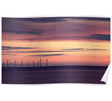 Windfarm at sunset Poster