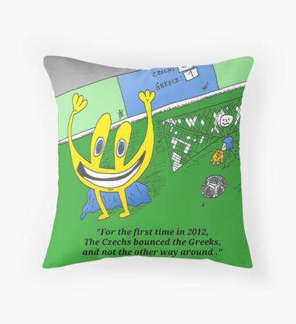 Binary options news cartoon Euroman at EURO 2012 Throw Pillow