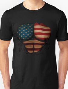American Flag  Body Muscles  Ripped Funny Patriotic T-Shirt T-Shirt