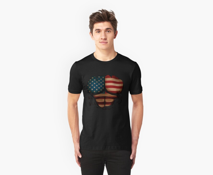 American Flag  Body Muscles  Ripped Funny Patriotic T-Shirt by CroDesign