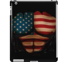 American Flag  Body Muscles  Ripped Funny Patriotic T-Shirt iPad Case/Skin