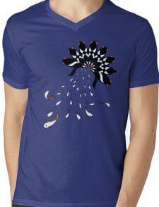 Penguin Flowers Mens V-Neck T-Shirt