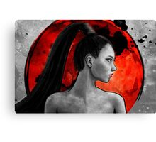 Red Warrior Woman Painting Canvas Print