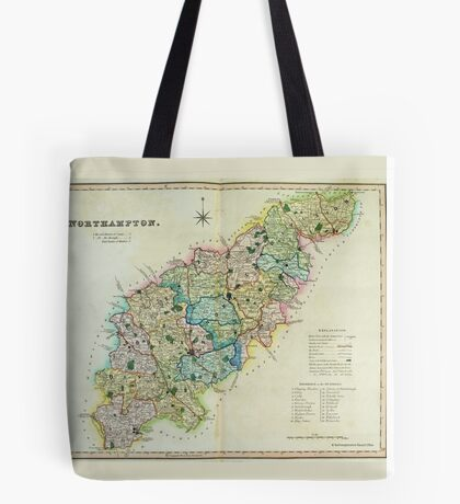 Old Colour Map of Northamptonshire Tote Bag