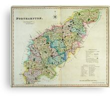 Old Colour Map of Northamptonshire Canvas Print