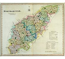 Old Colour Map of Northamptonshire Photographic Print