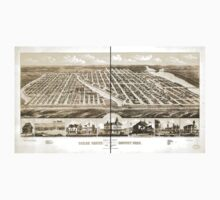 Panoramic Maps Bird's eye view of Ocean Grove and Asbury Park New Jersey 1881 Baby Tee