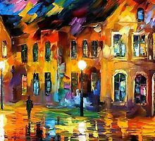 THE REFLECTION OF THE NIGHT- OIL PAINTING BY LEONID AFREMOV by Leonid  Afremov