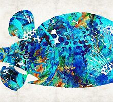 Blue Puffer Fish Art by Sharon Cummings by Sharon Cummings