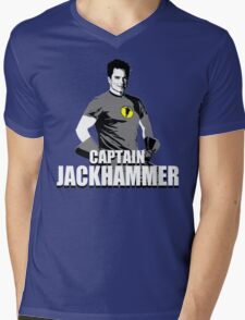 CAPTAIN JACKHAMMER Mens V-Neck T-Shirt
