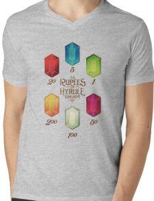Legend of Zelda The Rupees Geek Line Artly Mens V-Neck T-Shirt