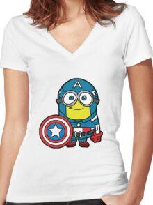 Captain Minerica Women's Fitted V-Neck T-Shirt