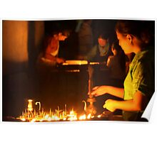 Butter Lamps at Night Boudha Stupa Poster