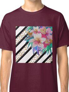 Watercolor hand paint tropical flowers, stripes, faux gold glitter drops Classic T-Shirt