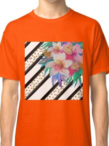 Watercolor hand paint tropical flowers, stripes, faux gold glitter drops Classic T-Shirt