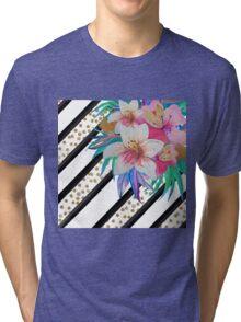 Watercolor hand paint tropical flowers, stripes, faux gold glitter drops Tri-blend T-Shirt