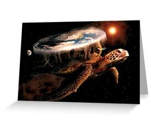 Turtle World - Space black transparency Greeting Card