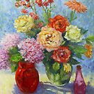 Still life with hydraneas and roses by Julia Lesnichy
