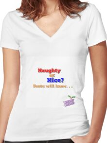 Naughty or Nice? Women's Fitted V-Neck T-Shirt