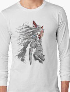 Mononoke Wolf Anime Tra Digital Painting Long Sleeve T-Shirt