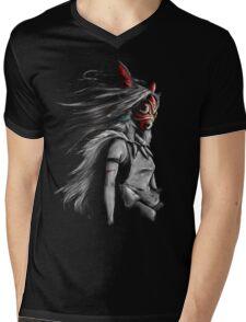 Mononoke Wolf Anime Tra Digital Painting Mens V-Neck T-Shirt