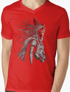 Mononoke Wolf Anime Tra Digital Painting Mens V-Neck T-Shirt