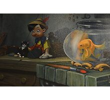 Wooden Puppet Real Boy Pinocchio Figaro Cleo Photographic Print